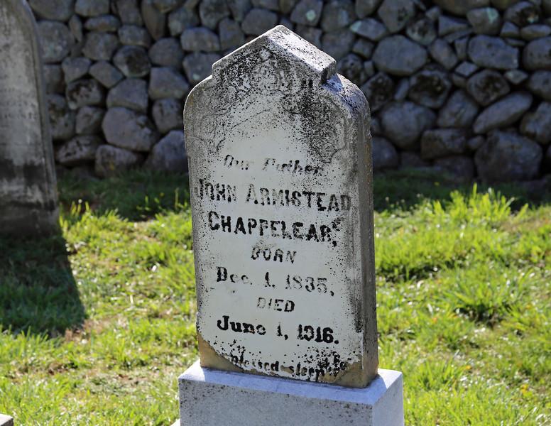 John Armistead Chappelear's stone at Belle Grove
