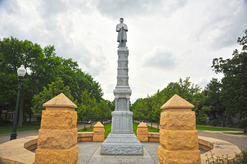 This Grand Army of the Republic monument is located at 2nd St & Clark Ave. in White Bear Lake, Minn. It was dedicated May 30, 1913. The monument lists the names of committee members responsible for the monument; they represent the Grand Army of the Republic, The Sons of Veterans, and the local community. The names of the living and deceased GAR Post members are inscribed on another side. Around the base of the monument are the names of major Civil War battles, including Gettysburg, Vicksburg and Chickamauga. The monument faces north.