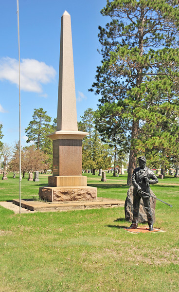 GAR monument located in the Greenwood Cemetery in Bemidji, MN