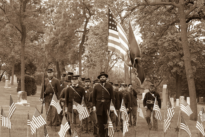 First & Second Minnesota Volunteer Infantries taking part in the Lakewood Cemetery Memorial Day Ceremony.   Photo credit:  Jay Grammond