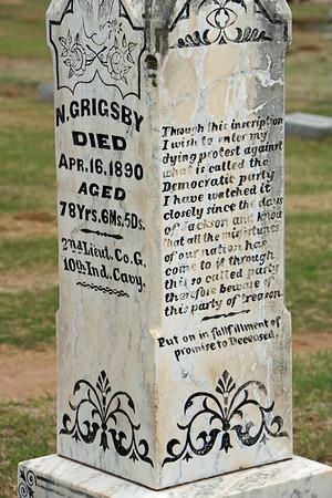 2LT Nathaniel Grigsby, USA, tombstone, Attica, KS