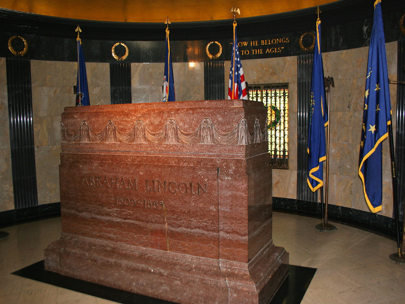"Lincoln's Burial Room...the incription above reads ""Now He Belongs to the Ages,"" the famous words uttered by Secretary of War William Stanton on word of Lincoln's death."