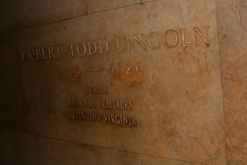 Lincoln Burial Chamber - Robert Lincoln was the only Lincoln child to survive childhood.  He is recognized here but is actually buried, as indicated, at Arlington National Cemetery.