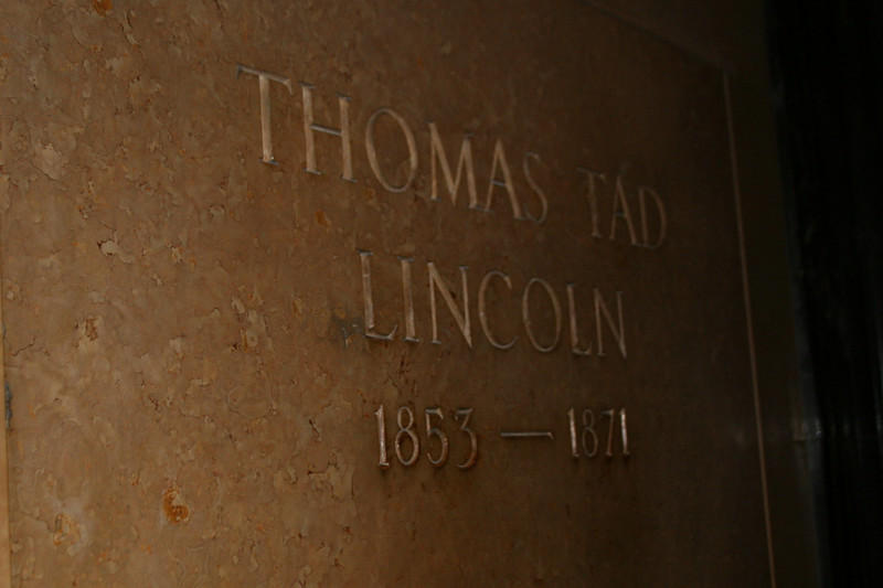 "Lincoln's Burial Chamber - The resting place of Lincoln's favorite son ""Tad"" who died at age 18 from TB."