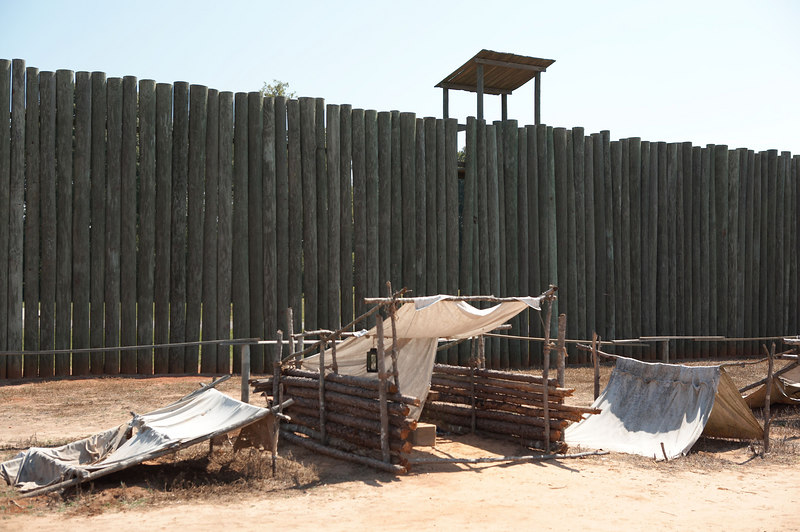 A replica of the interior of the stockade at Andersonville, Georgia, site of the infamous Prisoner of War prison for Federal enlisted men.