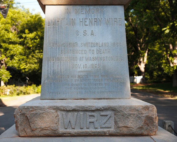 Monument to Captain Henry Wirz, Army of the Confederate States, at Andersonville, Georgia.