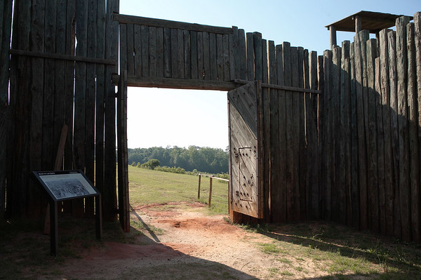 A replica of the stockade at Camp Sumter, Andersonville, Georgia. Camp Sumter was a Confederate military prison for Federal or Union enlisted men. Andersonville National Historic Site