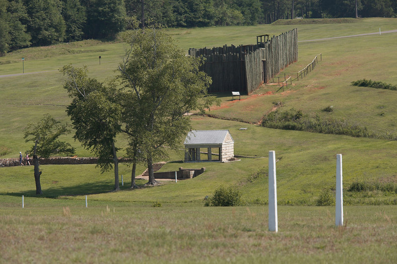 A replica of the stockade at Andersonville, Georgia, site of the infamous Prisoner of War prison for Federal enlisted men.