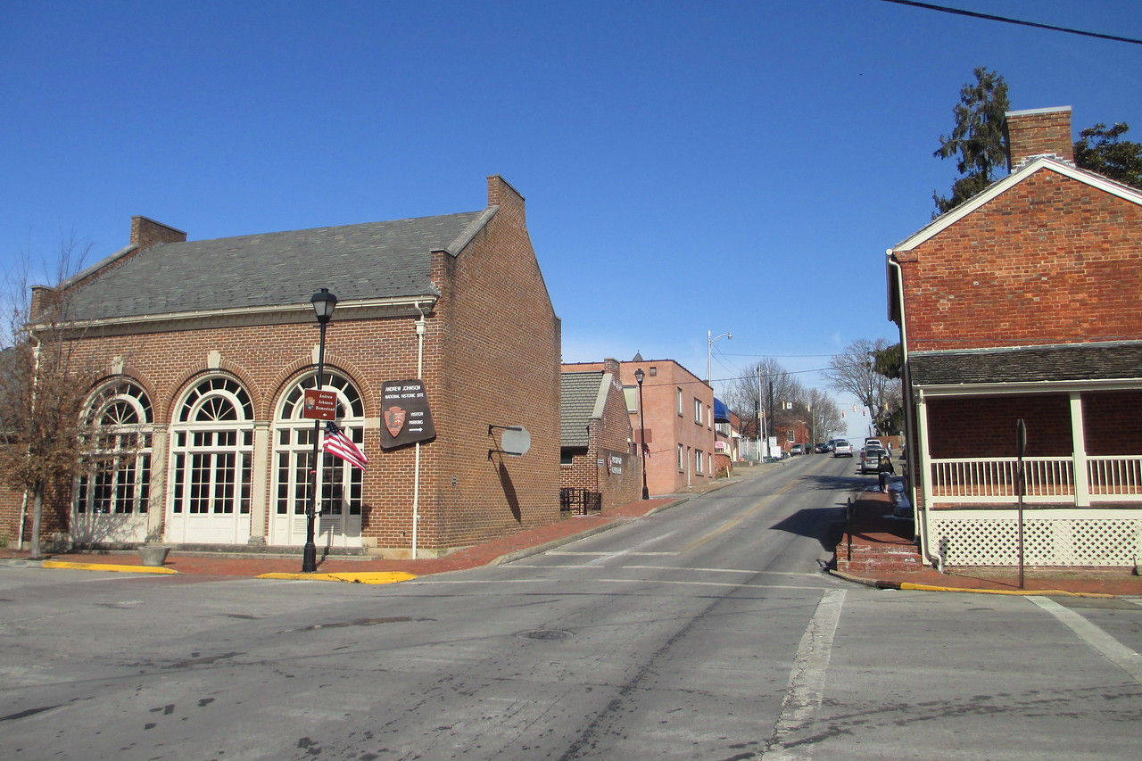 <b>Visitor Center & Early Home</b> - Looking up College Street with the early home of Andrew Johnson on the right and the visitor center on the left...