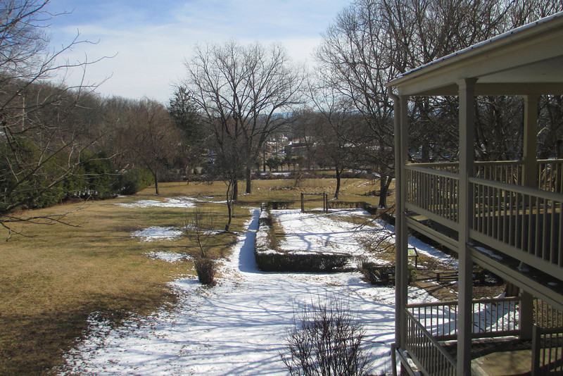 <b>The Homestead</b> - Looking over the garden area at the large backyard of the Homestead property from the second floor balcony...