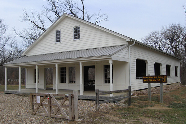 This shelter is home to some good info on the site and a covered picnic area.  In 1861 a general store was located on this spot.  The front of the structure has been built to represent the look of the old store, which was demolished in the mid-20th Century...