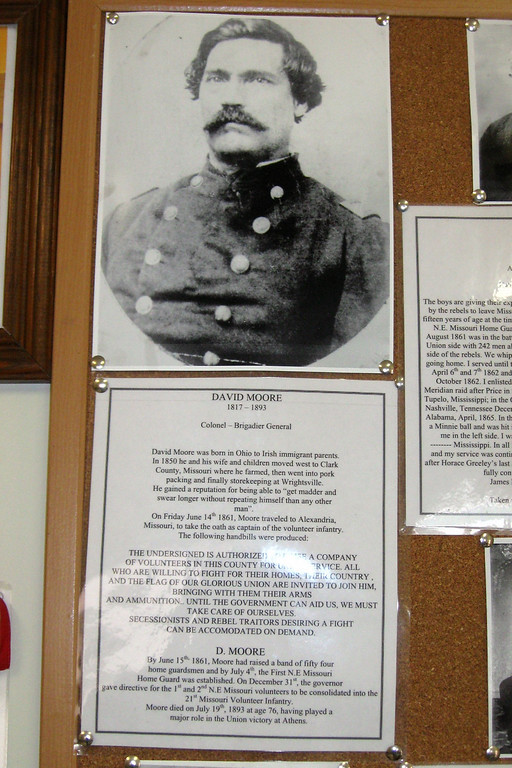 A small write-up on Col. Moore, leader of the pro-Union forces at Athens.  The cork board has pictures and info on numerous people present at the time of the battle...