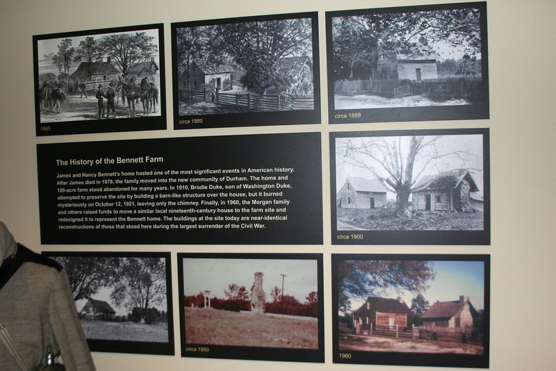 This mosaic of photos shows the condition of the Bennett House over the course of the last century and a half.  The house was abandoned in the 1880's and burned in 1921, leaving only the chimney.  The current structure is an 1840's cabin, similar in design to the Bennett's, which was moved here in the 1960's and restored to look like the Bennett cabin...