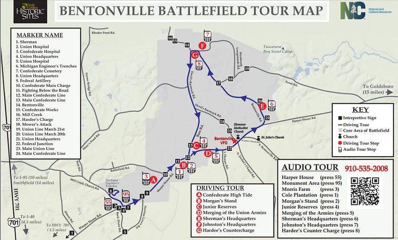 Bentonville Battlefield Tour Map