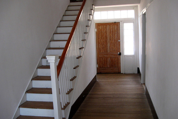 Heading upstairs, where the Harper Family was confined during the battle and for a short time afterwords...