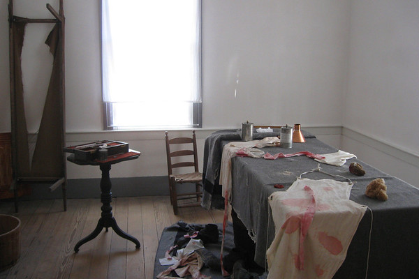 A G-rated look at one of the rooms which served as an operating room in the Harper House...