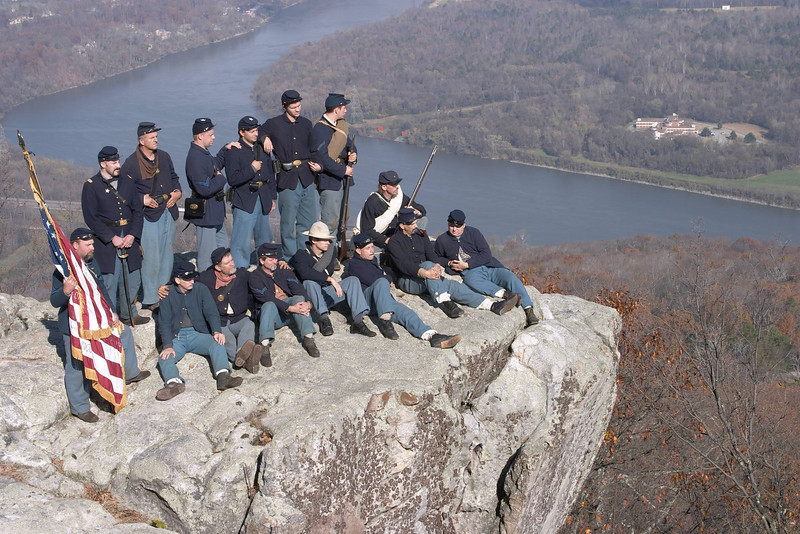 A close up view of Federal Re-enactors atop Lookout Mountain, Chattanooga, TN.