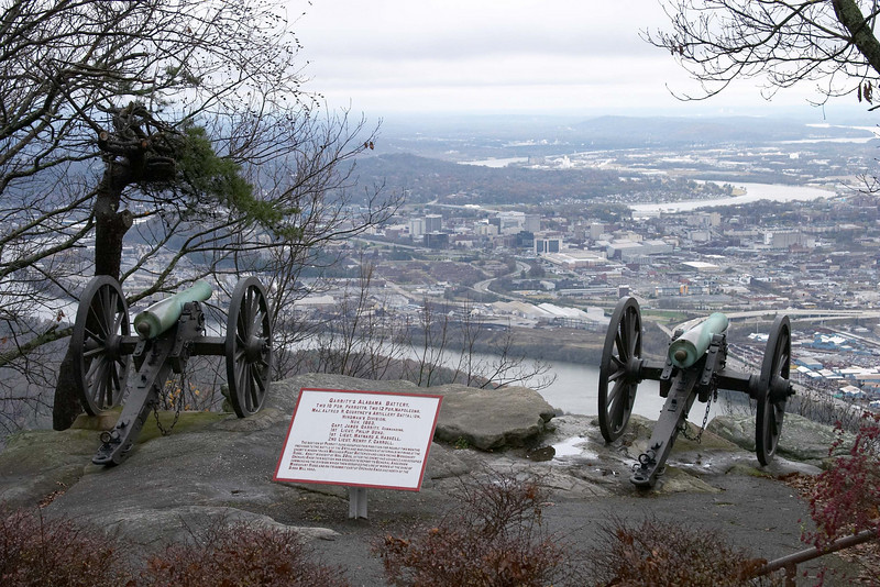Confederate cannons overlook Chattanooga during the siege and battles for the city in late 1863.