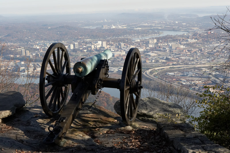 A gun of Garrity's Alabama Battery, Army of Tennessee, Confederate States of America, atop Lookout Mountain overlooking Chattanooga, Tennessee. Chickamauga and Chattanooga National Military Park