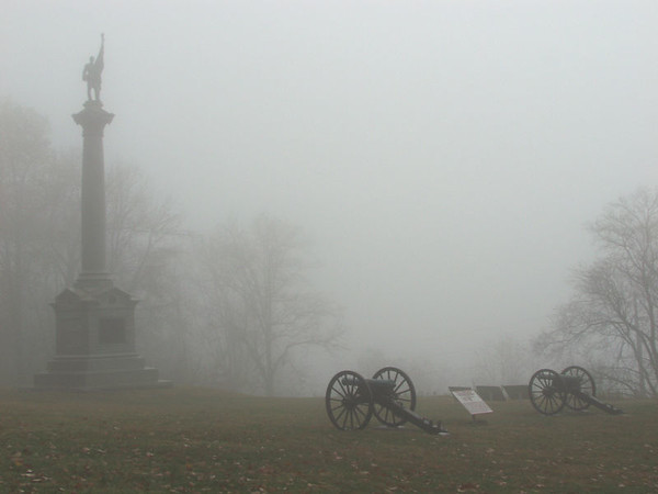This photo represents the weather conditions during the Battle of Lookout Mountain, Chattanooga, Tennessee, November 24, 1863. The weather was cold and foggy with mist. The New York Monument stands to the left of image while a section of York's Georgia Battery is to the right. Chickamauga and Chattanooga National Military Park