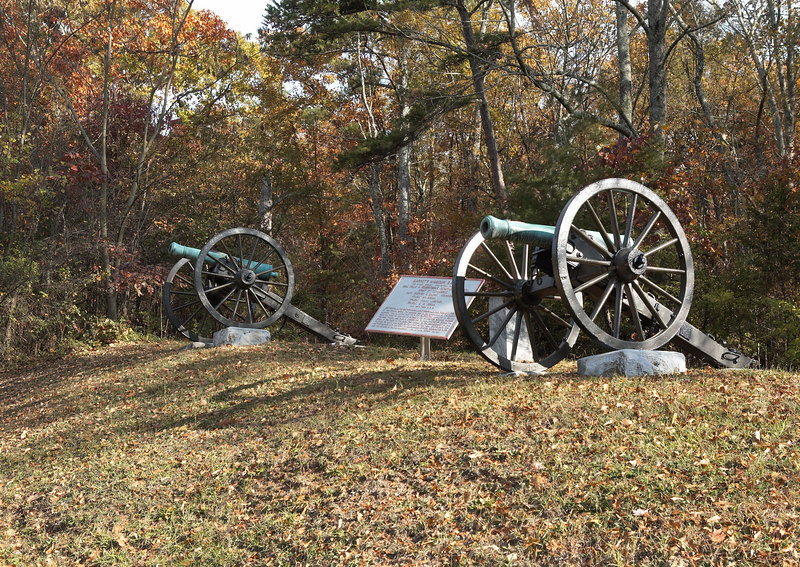 Barret's Missouri Battery, CSA on the Tunnel Hill area of Missionary Ridge. The Confederate right flank, Hardee's Corps, holds their position until the collapse of the center and Confederate left from the assault of the Army of the Cumberland.