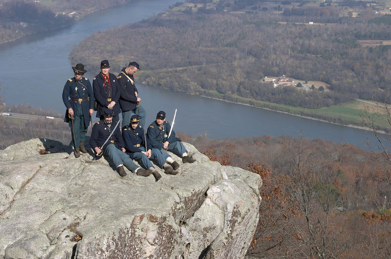 Federal reenactors atop Lookout Mountain on November 23, 2003, for the 140th anniversary of the Battle of Lookout Mountain, Chattanooga, Tennessee. Chickamauga and Chattanooga National Military Park