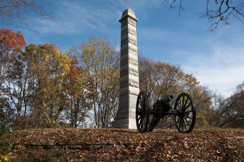 2nd Minnesota overruns Water's Alabama Battery: The Confederate position on Missionary Ridge, Chattanooga, Tennessee was assaulted and overrun by 4 divisions of the Army of the Cumberland.