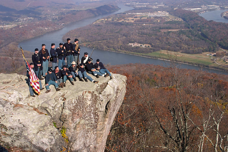 Federal reenactors atop Lookout Mountain on November 23, 2003, for the 140th anniversary of the Battle of Lookout Mountain, Chattanooga, Tennessee. Chickamauga and Chattanooga National Military Park. Version 2