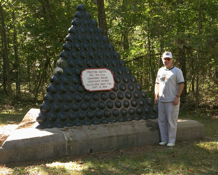 Deathsite of General Preston Smith, Army of the Confederate States,  visited by Dick Menard. The general was killed by the 77th Pennsylvania Regiment when he wandered into their line. Chickamauga, Georgia, September 19, 1863. Chickamauga and Chattanooga National Military Park