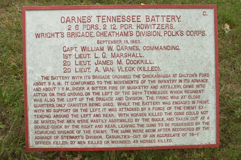 Carnes' Tennessee Battery, Cheatham's Division, Polk's Right Wing, Army of Tennessee at Chickamauga, GA