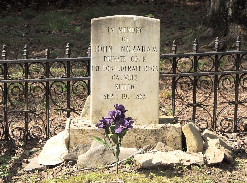 Private John Ingraham, Army of Tennessee, CSA, killed at Chickamauga, Georgia. He is buried on the battlefield, the only known gravesite on the battlefield.