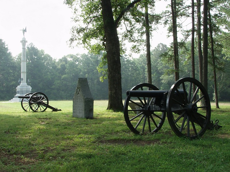 Georgia troops in the assault on Poe Field at Chickamauga, Georgia.