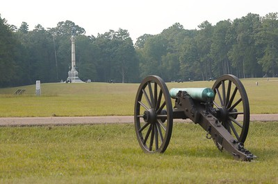 Federal cannon, in the foreground, repel the assault of Confederate troops on Poe Field - Chickamauga and Chattanooga National Military Park