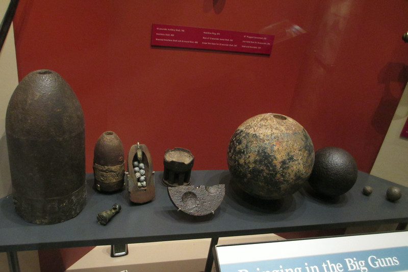 A variety of artillery shells utilized during the battle and bombardment of Donelson...