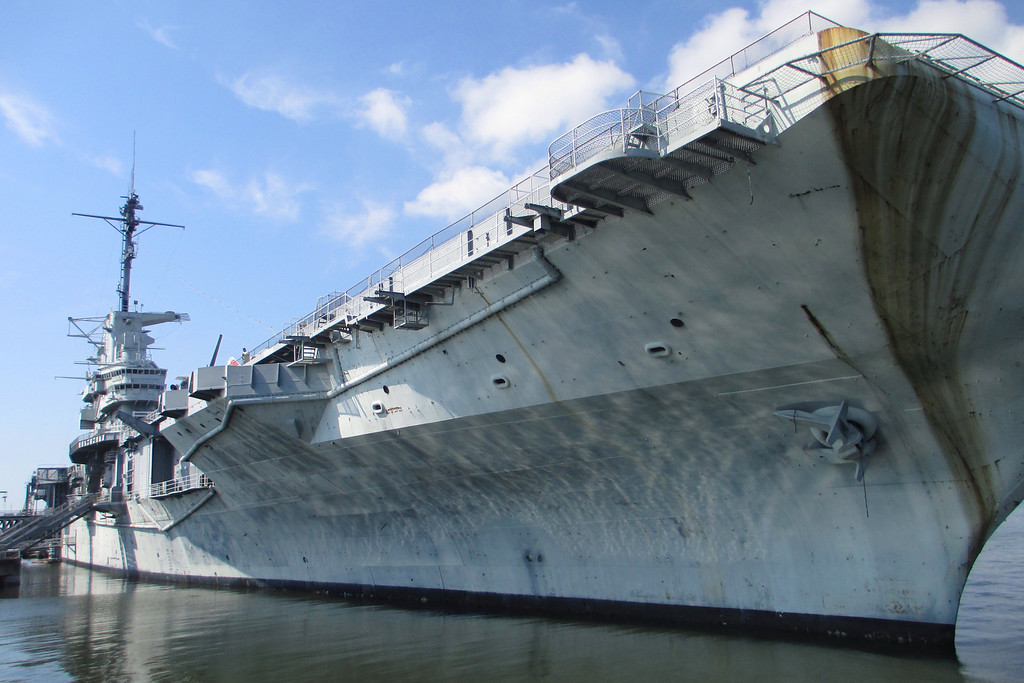 The USS Yorktown, of World War 2 fame, looms overhead as we head out into the harbor...
