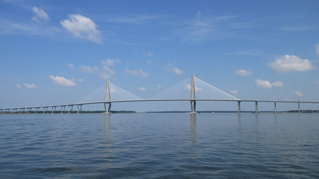 Pulling out into the harbor the beautiful Cooper River Bridge (officially, the Arthur Ravenel Jr. Bridge) spans the waterway to the north.  The first time I visited Sumter, back in 2004, the bridge was still under construction with the towers only partially constructed...