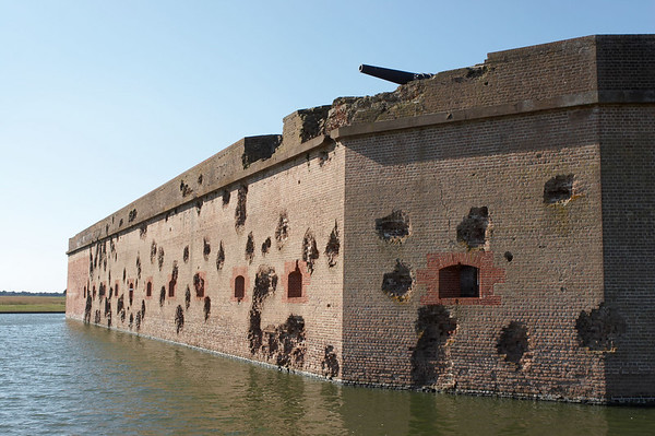 Battle-damaged Fort Pulaski, a Confederate fort, guarding Savannah, Georgia.
