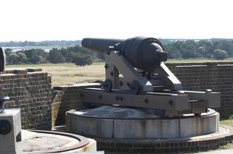 A Confederate Brooke rifled-cannon, at battle-damaged Fort Pulaski, a Confederate fort guarding Savannah, Georgia.
