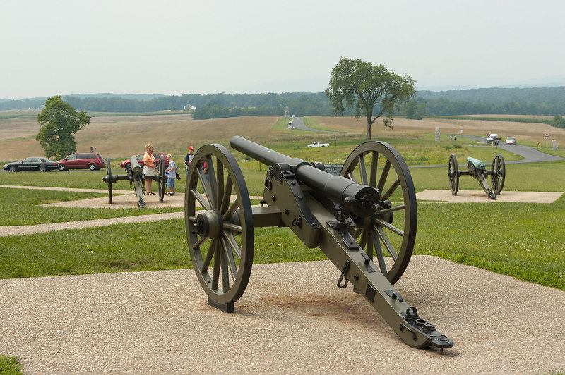 A Whitworth breech-loading rifled cannon imported from England for The Army of the Confederate States, on the field of battle at Gettysburg, Pennsylvania with The Army of Northern Virginia.