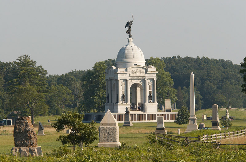 Federal battleline (in the foreground), with the Pennsylvania Monument (in the background), Battle of Gettysburg, Pennsylvania.