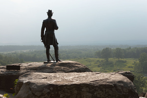 General Warren, USA, overlooking the battlefield of Gettysburg, Pennsylvania, on Day 2 of the battle, July 2, 1863.