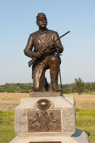 Federal cavalryman on Gettysburg battlefield.