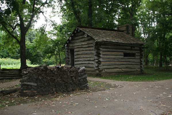 "New Salem Schoolhouse:  This structure was raised not long after the founding of New Salem in 1828.  Nicknamed a ""blab"" school, the children who attended here learned by repeating, out loud, their daily lessons."