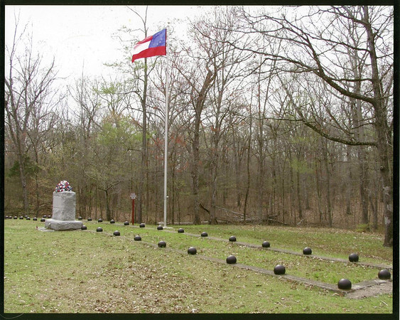 A mass grave of Confederate soldiers on the battlefield of Shiloh, Tennessee. There are approximately 700 soldiers buried 7 layers deep, 100 to a row, one on top of another.