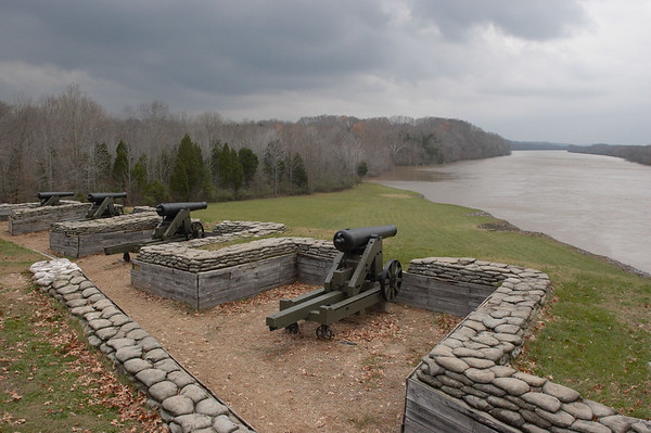 A river battery at Fort Donalson, a Confederate fort, on the Cumberland River, near Clarkesville, TN