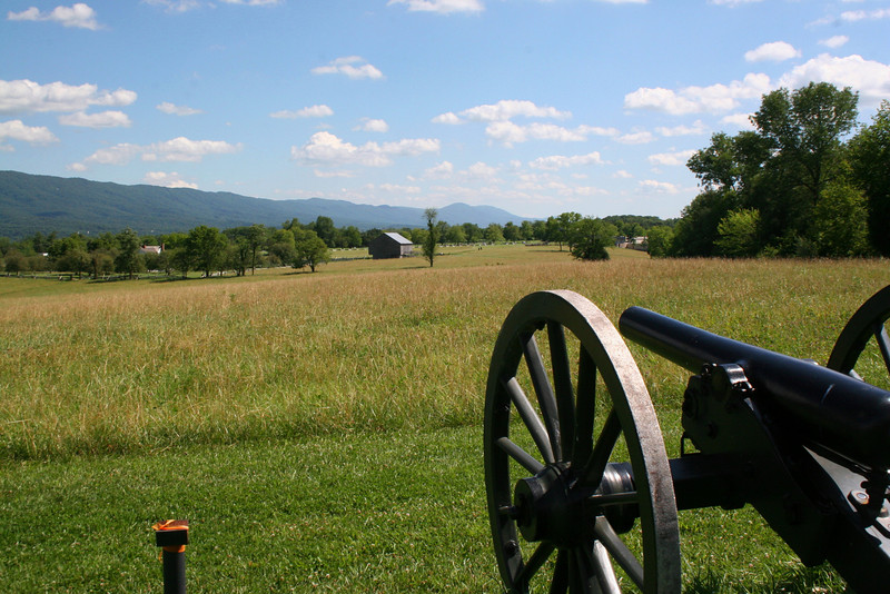 A look at the battle ground from the perspective of the Union defenders.  The entire route of the VMI cadet advance can be seen from here...from where they first set foot on the battlefield near the visitors center in the center-right distance, to the Bushong Farm left of center, to the infamous Field of Lost Shoes in the foreground...