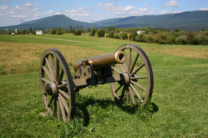 A close-up of a replica of the Union cannon captured by the victorious VMI cadets during the battle...