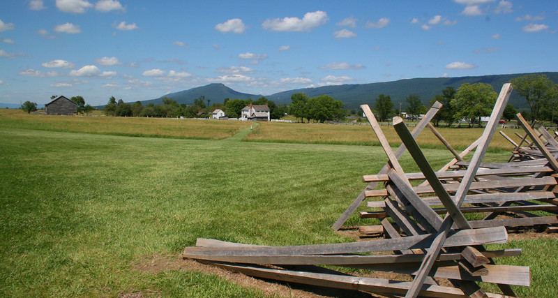 The Confederate objective was the center of the Union lines atop Bushong's Hill (just out of the shot to the left).  The VMI cadets advanced across this field towards the Bushong Farm...