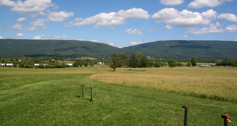 One of the major causes for a battle taking place at New Market is pictured here...the gap in Massanutten Mountain that gives quick access to the eastern half of the Shenandoah Valley.  Without control of this gap the Union forces faced a 40-mile detour to reach the far side...