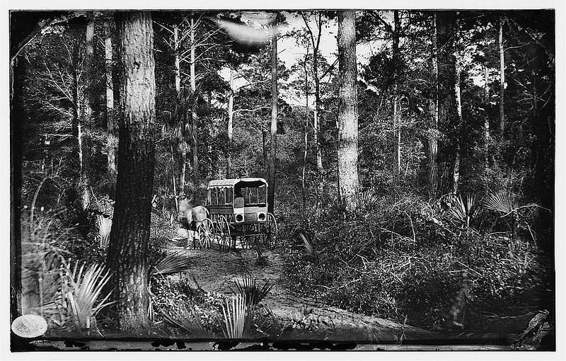 <b>Charleston, SC (ca. August 1863) </b> - An ambulance crosses the interior of Folly Island.